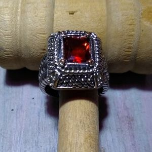 Large Silvertone And Red Stone Ring
